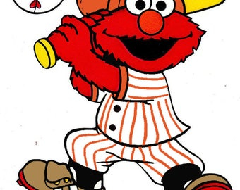 Elmo Baseball # 1 -  8 x 10  Shirt Iron On Transfer - Jersey Color can be changed