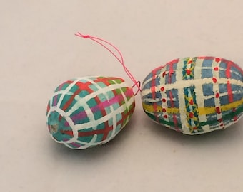 Two Spun Cotton Painted Eggs  plaid feather tree ornament by Maria Paula