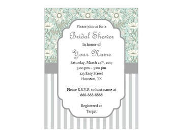 Gray Floral Bridal Shower Invitation Template