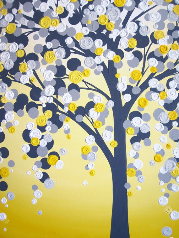 Perfect Yellow And Grey Art Textured Tree Acrylic Painting On