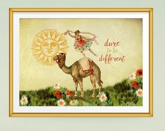 Gift for Dancer, Ballerina Art, Wall Art Prints, Inspirational Art, Inspirational Quotes, Wall Decor, Vintage Collage, Camel, Home Decor