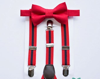 Red Boys Bow Tie Red Navy Suspenders..Boy Christmas Outfit..Boy Caskesmash..Baby boy suspenders..Kids bow tie set..1st birthday bow tie set