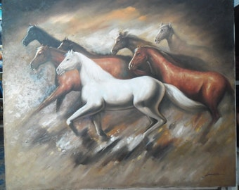 "Horses painting oil painting on canvas 36""X48"""