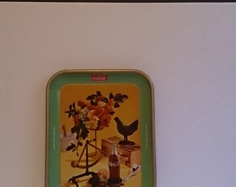 Coca-Cola Coke Tin Litho Serving Tray - Vintage 1957 Original Rooster Still Life