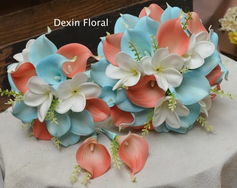 Wedding Package Coral Turquoise Aqua Blue Callas Lilies Rustic Real Touch Bridal Bouquets White Plumerias