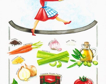 What's In My Tomato Soup? - Print van Originele illustratie - Afmeting papier A3