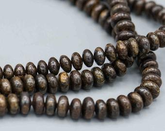 "Bronzite Gemstone Rondelle 6mm Beads 16"" Strand Jewelry Making Supplies SKU-BRONZITE-1"