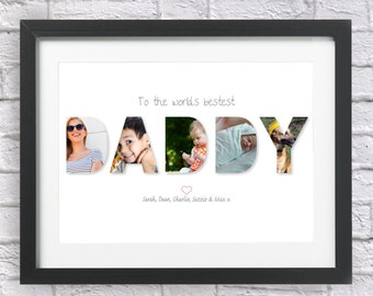 Bespoke Personalised DADDY Collage Print Photos Father Dad Xmas Gift Word Art Happy Christmas Birthday Fathers Day