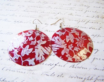 Vintage Red & Silver Large Shell Dangle Post Earrings / Gift for Her / O250