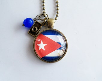 Flag of Cuba Necklace - Cuban Flag Jewelry - Country Flag - Patriotic Pendant - Caribbean Island - Custom Jewelry - Red White Blue -