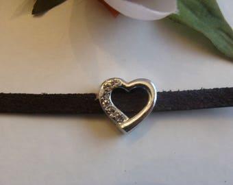 Set of 3 width beads heart shape with Rhinestones
