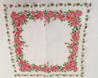 Vintage Handkerchief / Wild Rose Vine