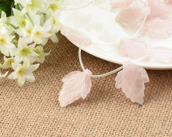 One Strand 18*24MM Pink Quartz Leaf DIY Jewelry
