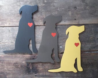Labrador retriever wood cutout with a heart.  Your choice of size.
