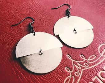 brass earrings    full moon   Lunar jewelry   mobile earrings   half circles half moon