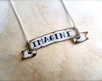 tattoo pike lettering custom banner name necklace