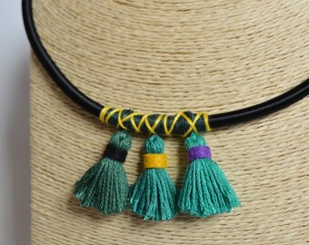 Tassel choker necklace embroidered thread and felt handmade green