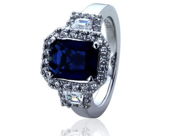 Women Silver Rhodium Plated 2.5ct Radiant Blue Sapphire CZ Anniversary Ring(GPBS13R0156A)