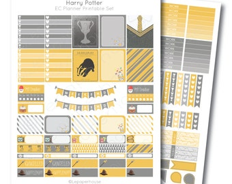 Erin Condren Harry Potter Hufflepuff Printable Planner Sticker Set, Erin Condren Life Planner, Instant Download
