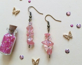 70) Stone Earrings Rose Bronze