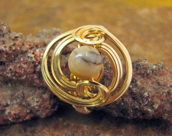Gold Filled Wire Wrapped Ring with Mookaite Jasper