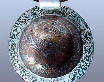 Mokume Gane Pendant Silver Copper Iron Mokume Pendant Custom Metalsmith Unique Pendant Woodgrain Pattern Mokume Texture