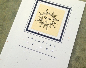 THINKING OF YOU Sun blank greeting card  recycled paper