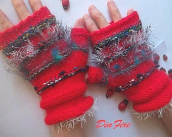 Women L 20% OFF Ready To Ship OOAK Hand Knitted Gloves Fingerless Mittens Cabled Striped Warm Accessories Warmers Winter Arm Wool Mohair 859