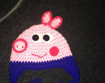 Crocheted george pig hat
