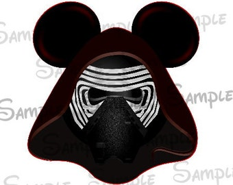 Kylo Ren (Star Wars) Character inspired Mouse head ears DIGITAL printable file DIY