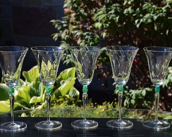 Vintage Wine Glasses, Optic Glass with Green Stems,  Set of 5, Wine Party Glasses, Housewarming Gift, Bar Cart Decor