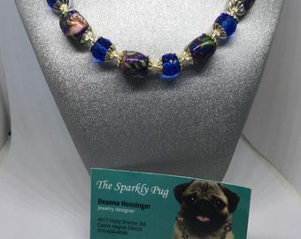 Blue lampwork and crystal necklace and earring set
