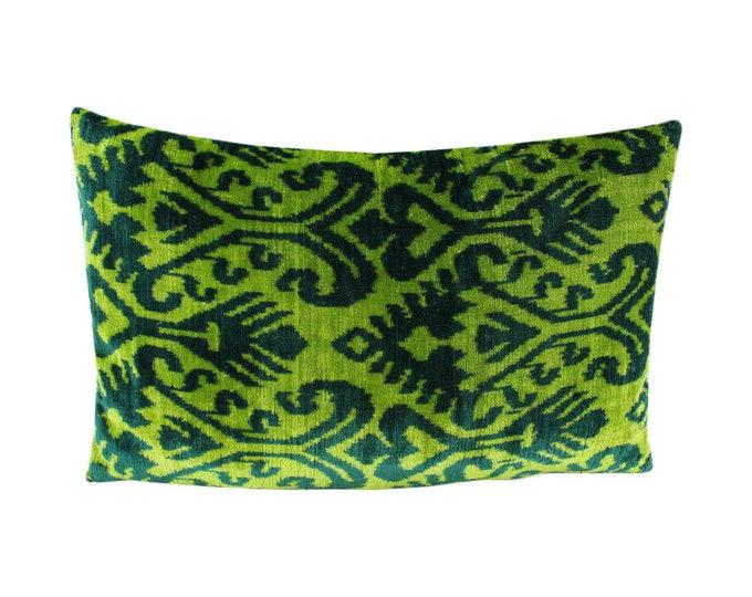 Silk Velvet Ikat Pillow Cover Lp506, Bohemian pillow, Velvet Ikat Pillow, Velvet Pillow, Velvet Pillow Cover, Ikat Pillows, Throw Pillows