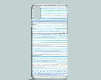 Pattern mobile phone case, Blue doodles iPhone X, iPhone 8,iPhone 7, 7/8 Plus, iPhone SE, iPhone 6S, iPhone 6, iPhone 5S, iPhone 5