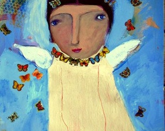 Angel with butterflies original art by linda morgan smith new orleans artist mixed media print giclee painting signed archival paper girl