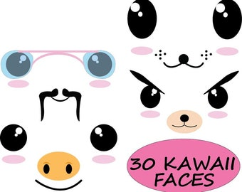 30 PNG Filles- Kawaii faces clip art--Digital Clip Art Graphics Personal/ Commercial Use- 300 dpi