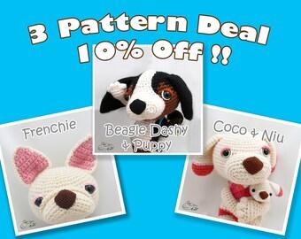 PDF Amigurumi / Crochet Pattern Special 3-Pattern Deal: Sleepy eye dog Beagle Dashy and Baby, Coco and Niu, French Bulldog CPD-16-3318
