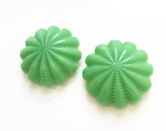 large vintage jade green domed shank buttons with scalloped design--matching lot of 2