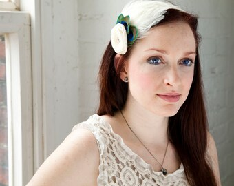 Ivory Feather Headband with flower - Made to order