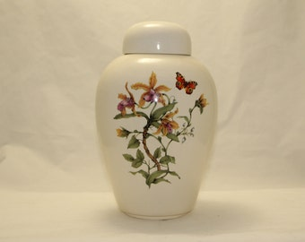 Yellow Orchid & Butterfly Ceramic jar with lid,urn,Adult Cremation Urn. Jar with lid,large urn, large jar, art pottery, handmade