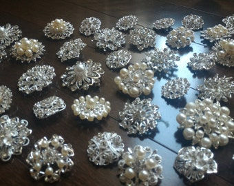 10 pcs Assorted New Silver or Gold Rhinestone Button Brooch Embellishment Pearl Crystal Button Wedding Brooch Bouquet Cake Hair Comb