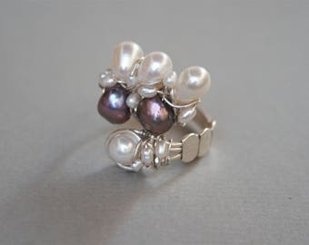 Freshwater pearl sterling silver ring, silver wire ring, pearl jewelry, artisan silver ring, pearl jewwelry