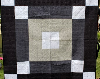 Solid Gray Grid Throw Quilt