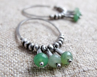 Hammered Silver Hoop Earrings with Green Chrysoprase