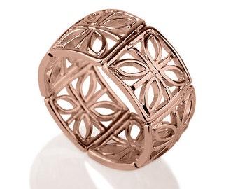 14K Rose Gold Floral Ring ,  Ornament Ring , Filigree Ring , Ethnic Ring , Oriental Ring , Rose Gold Patterned Ring , Unique Ring