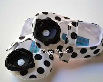 Black & White Polka Dot Maryjane Baby Shoes - Soft Ballerina Slippers Baby Booties