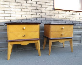 Pair of french mid-century Art Deco nightstands
