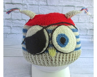 children's knitted hat, for a boy, cap-bondana, summer children's Panama, summer knitted hat, cotton hat, owl-pirate,
