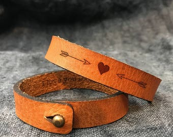 Leather bracelets for him, Wedding gift, Womens leather bracelet, Leather bracelet, Leather cuff, Gift for women, Leather gift for her