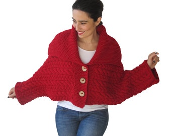 Red Cable Knit Cardigan by Afra